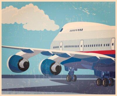 Плакат большой гражданский самолет старый плакат