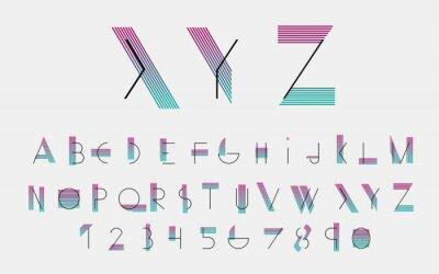 Плакат Черные алфавитные шрифты и номера с цветными линиями. Векторная иллюстрация.
