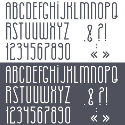 Плакат Черно-белый алфавит, цифры и знаки препинания