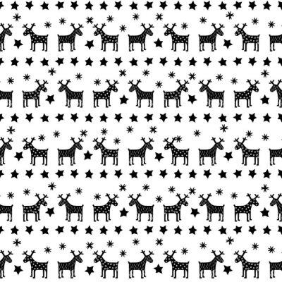 Плакат Черный и белый бесшовные ретро Рождественские шаблон - варьировать Xmas оленей, звезды и снежинки. Счастливый Новый год фон. Векторный дизайн для зимних праздников на белом фоне.