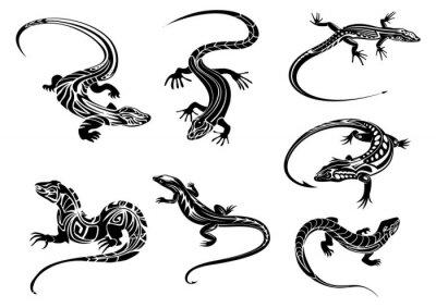 Плакат Черные ящерицы с племен орнамент