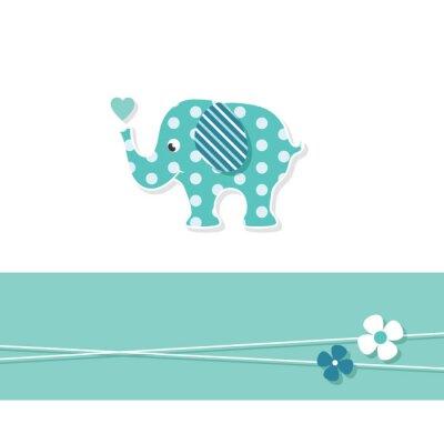 Плакат синий мальчик слон открытка