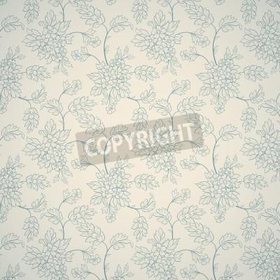 Плакат Синий цветочный орнамент на светлом фоне