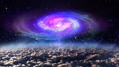 Плакат голубой галактики в ночное время в пространстве.