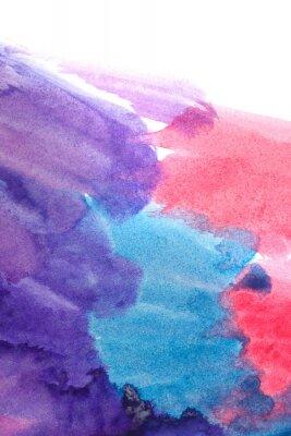 Плакат Синий, фиолетовый, красный абстрактные акварели.