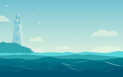 Плакат синее море фон с волнами и маяк. векторные иллюстрации