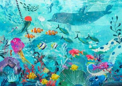 Плакат blue underwater background with fish