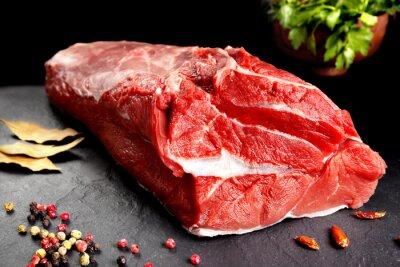 Плакат bodegón, pieza de carne, chuleton listo para cocinar