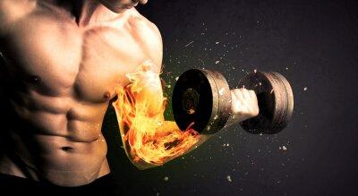 Плакат Культурист спортсмен подъема веса с огнем взрываются концепции руки