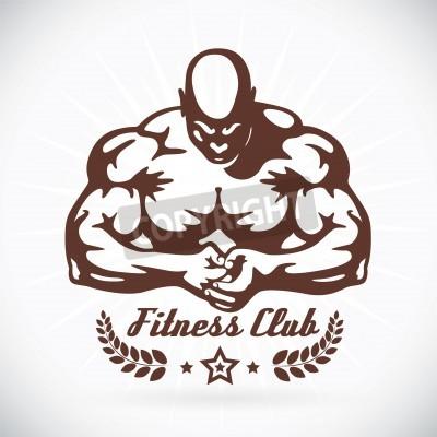 Плакат Bodybuilder Fitness Model Illustration, Sign, Symbol, Button, Badge, Icon, Logo for Family, Baby, Children, Teenager, People, Tattoo