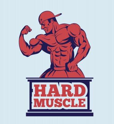 Плакат культурист фитнес-модель создает логотип. Мышцы человека эмблема