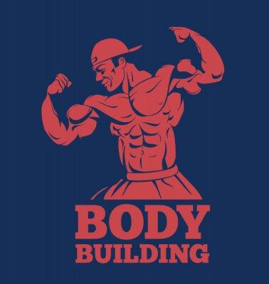 Плакат культурист мышцы человека фитнес модель создает логотип. культурист показывает мышцы бодибилдинг эмблема