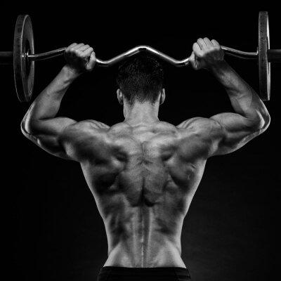 Плакат культурист, показывая его спину