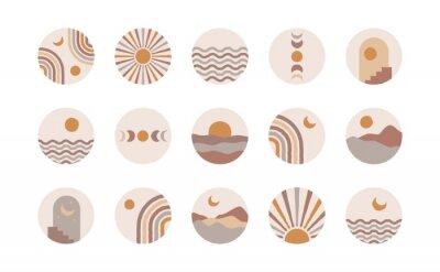 Плакат Boho social media highlight covers. Abstract stories contemporary style, sun moon story round icons, vector mid century illustration