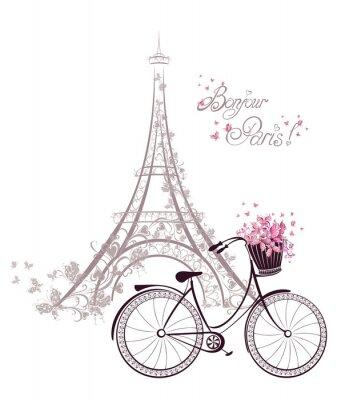 Плакат Бонжур Париж текст с Эйфелевой башни и велосипеде