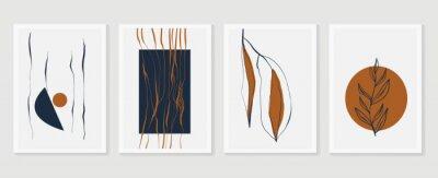 Плакат Botanical wall art vector set. Earth tone boho foliage line art drawing with  abstract shape.  Abstract Plant Art design for print, cover, wallpaper, Minimal and  natural wall art.
