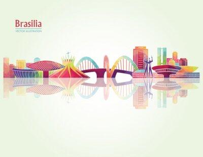 Плакат Бразилиа подробные Skylines. векторные иллюстрации