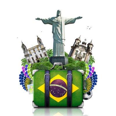 Плакат Бразилия, ориентиры Бразилия, путешествия и ретро чемодан
