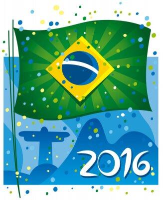 Плакат Brazil flag celebrating the new year in wonderful city