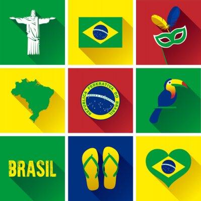 Плакат Бразилия Flat Icon Set. Набор векторных графических плоских значков, представляющих достопримечательности и символы Бразилии.