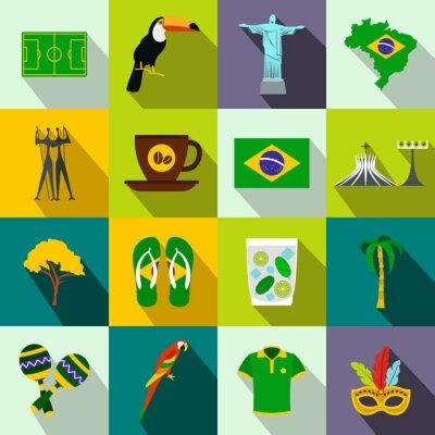 Плакат Бразилия иконки плоские