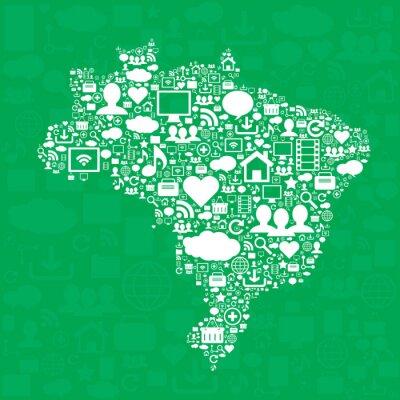 Плакат Бразилия карту с иконами.