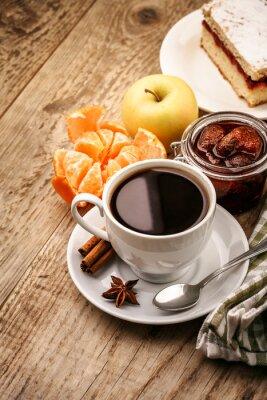 Плакат Завтрак с кофе и фруктами