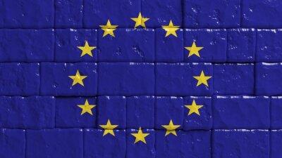 Плакат Кирпичная стена с нарисованными флагом Европейского Союза