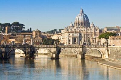 Плакат Мост, базилика и река Тибр в Риме