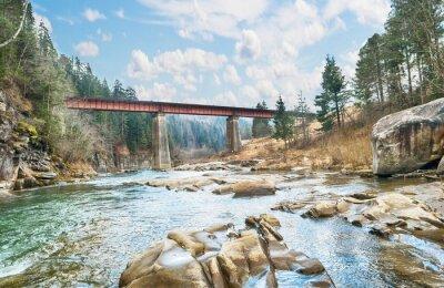 Плакат мост на горной реке