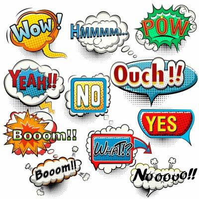 Плакат Яркий комические пузыри речи крики, фразы, звуки вектор