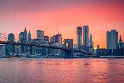 Плакат Бруклинский мост и Манхэттен в сумерках