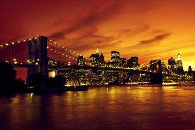 Плакат Бруклинский мост и Манхэттена на закате, Нью-Йорк