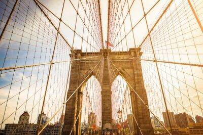 Плакат Бруклинский мост и Манхэттена горизонты