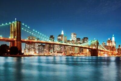 Плакат Бруклинский мост в ночное время
