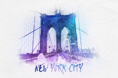 Плакат Бруклинский мост с Нью-Йорка текст