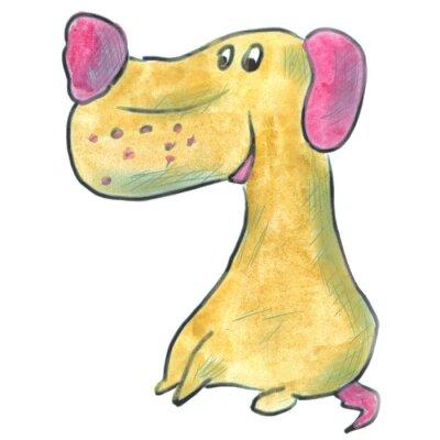 Плакат коричневая собака с розовыми ушами мультфильма акварель изолированные