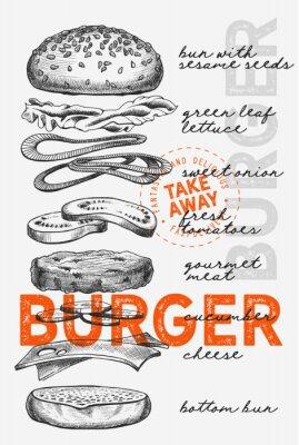 Плакат Burger illustration for food restaurant and truck on vintage background.