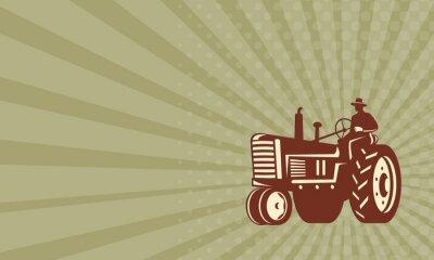 Плакат Визитная карточка Farmer Вождение Урожай Трактор Ретро