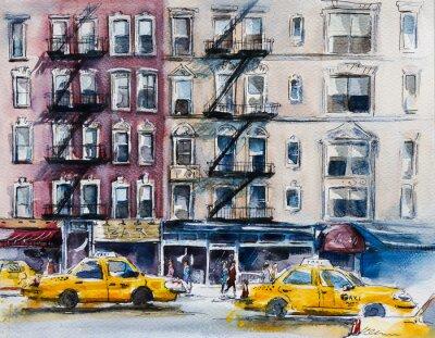 Плакат Занят Нью-Йорк Стрит. Акварель эскиз