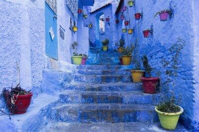 Плакат Кальес-де-ла Хермоза Azul де Сьюдад Chefchaouen, Marruecos