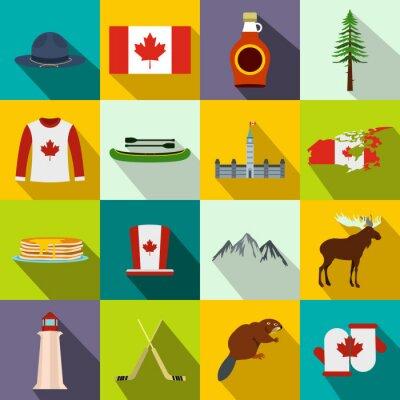 Плакат Канада иконки плоские