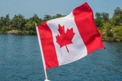 Плакат Канадский флаг дует ветер Тысяча островов Онтарио, Канада