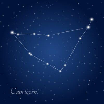 Плакат Козерог созвездие знак зодиака на звездное ночное небо