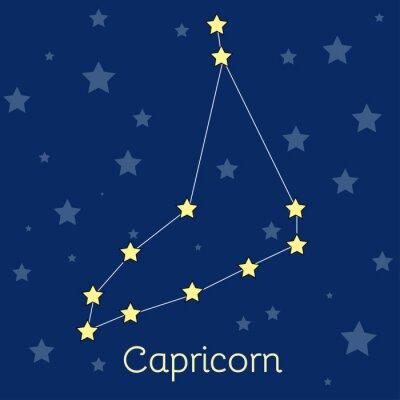 Плакат Козерог Земли зодиака созвездие со звездами в космосе. Векторное изображение