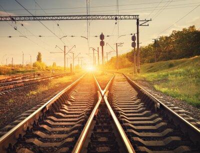 Плакат Платформа поезд Грузовой на закате. Железная дорога в Украине. Железнодорожная станция