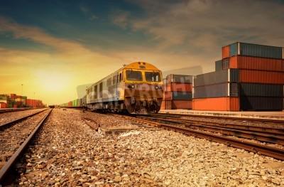Плакат Поезд платформа Грузовой на закате с контейнером