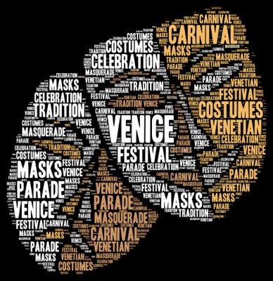 Плакат Карнавал в Венеции в Италии слово облако