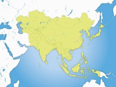 Плакат Carte Asie, Границ и др Fleuve