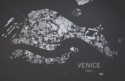 Плакат Cartina di Venezia, Italia, vista satellitare, mappa 3d